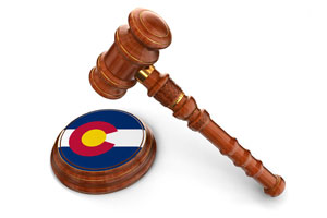 Wooden Mallet and flag Of Colorado